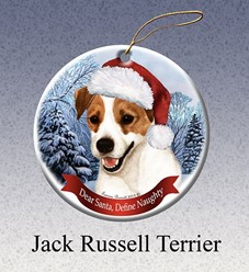 Jack Russell Dear Santa Dog Christmas Ornament