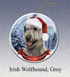 Irish Wolfhound Dear Santa Dog Christmas Ornament