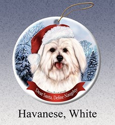 Havanese Dear Santa Dog Christmas Ornament
