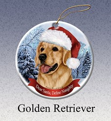 Golden Retriever Dear Santa Dog Christmas Ornament
