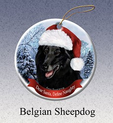 Belgian Shepherd Dear Santa Dog Christmas Ornament