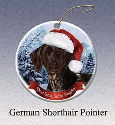 German Shorthaired Pointer Dear Santa Dog Christmas Ornament