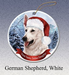 German Shepherd Dear Santa Christmas Ornament-click for breed colors