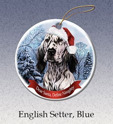 English Setter Dear Santa Dog Christmas Ornament