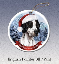 English Pointer Dear Santa Dog Christmas Ornament