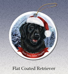 Flat Coated Retriever Dear Santa Dog Christmas Ornament