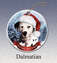 Dalmatian Dear Santa Dog Christmas Ornament