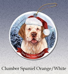 Clumber Spaniel Dear Santa Dog Christmas Ornament