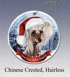 Chinese Crested Dear Santa Dog Christmas Ornament