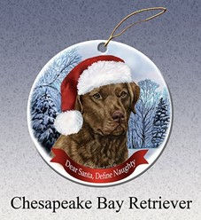 Chesapeake Bay Retriever Dear Santa Dog Christmas Ornament