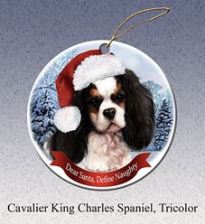 Cavalier King Charles Dear Santa Christmas Ornament - click for breed colors