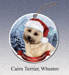 Cairn Terrier Dear Santa Dog Christmas Ornament