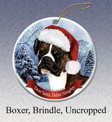 Boxer Uncropped Dear Santa Dog Christmas Ornament