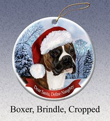 Boxer Cropped Dear Santa Dog Christmas Ornament- Click for more breed colors