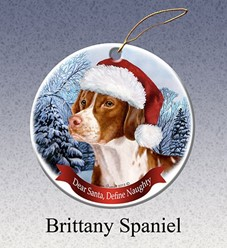 Brittany Dear Santa Dog Christmas Ornament