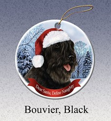 Bouvier Dear Santa Dog Christmas Ornament- Click for more breed colors