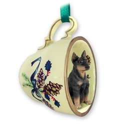 Doberman Tea Cup Holiday Ornament