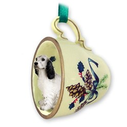 English Setter Belton Tea Cup Holiday Ornament
