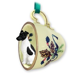 Fox Terrier Tea Cup Holiday Ornament