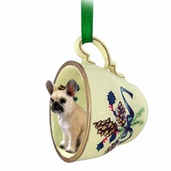 French Bulldog Tea Cup Holiday Ornament