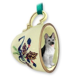 German Shepherd Tea Cup Holiday Ornament
