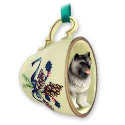 Keeshond Tea Cup Holiday Ornament