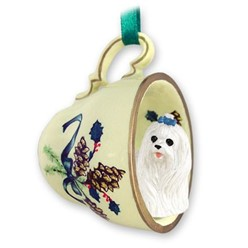 Maltese Tea Cup Holiday Ornament