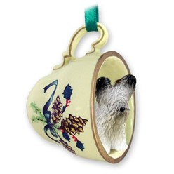 Skye Terrier Tea Cup Holiday Ornament