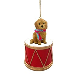 Goldendoodle Drum Dog Christmas Ornament