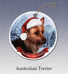 Australian Terrier Dear Santa Dog Christmas Ornament