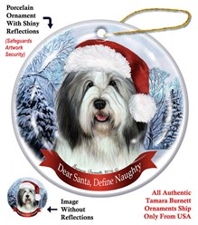 Bearded Collie Dear Santa Dog Christmas Ornament