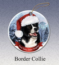 Border Collie Dear Santa Dog Christmas Ornament