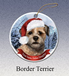 Border Terrier Dear Santa Dog Christmas Ornament