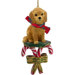 Candy Cane Goldendoodle Christmas Ornament