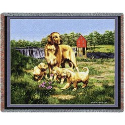 Golden Retriever and Puppies Throw Blanket, Made in the USA