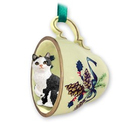 Manx Cat Tea Cup Holiday Ornament