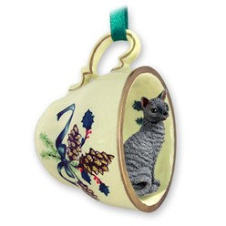 Cornish Rex Cat Tea Cup Holiday Ornament- click for more breed colors