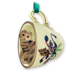 Scottish Fold Cat Tea Cup Holiday Ornament