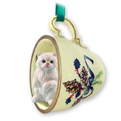 Persian Cat Tea Cup Holiday Ornament- click for more breed colors