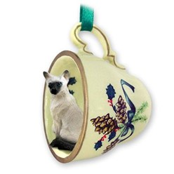 Siamese Cat Tea Cup Holiday Ornament
