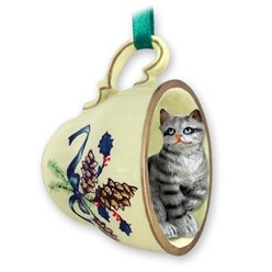 Grey Tabby Cat Tea Cup Holiday Ornament