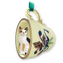 Japanese Bobtail Cat Tea Cup Holiday Ornament