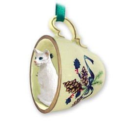 Oriental Shorthair Cat Tea Cup Holiday Ornament