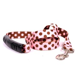 Pink and Brown Polka Easy Grip Lead, Made in the USA