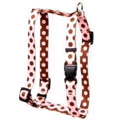 Pink and Brown Polka Harness, Made in the USA