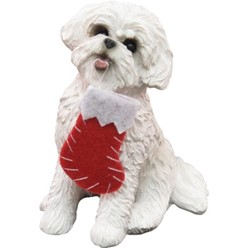 Bichon Frise Sandicast Dog Christmas Ornament