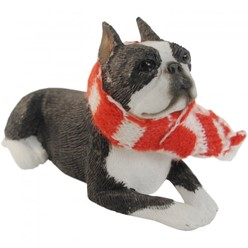 Boston Terrier Sandicast Dog Christmas Ornament