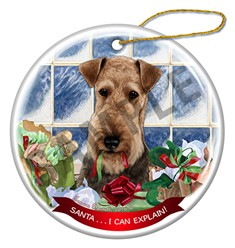 Airedale Santa I Can Explain Christmas Ornament