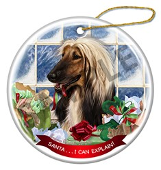 Afghan Hound Santa I Can Explain  Christmas Ornament