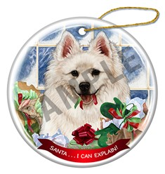 American Eskimo Santa I Can Explain Christmas Ornament